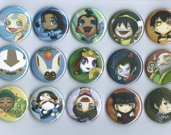 Avatar: The Last Airbender 15 pinback buttons