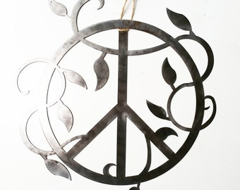 Peace Sign with Botanical Foliage Boho Luxe Gypsy