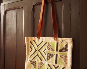 Tote bag strappy leather