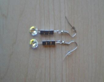 Hematite & crystal earrings
