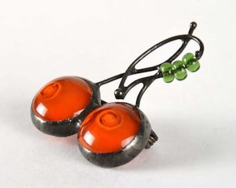 Cherry Brooch, Custom Brooch, Handmade Brooch, Cherry Pin, Wire Brooch, Glass Brooch, Cheap Jewelry, Bohemian Jewelry, Jewelry Gifts