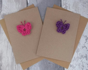 Butterfly greetings card, crochet butterfly, spring card