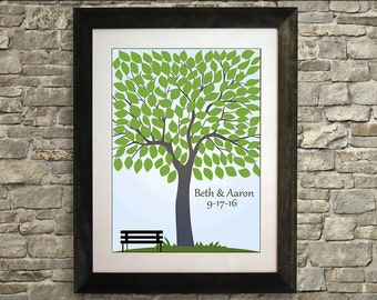 Wedding Guest Book Alternative Tree, Wedding Guest Book Poster, Wedding Guest Book Bench, Guestbook, 16 x 20 inches (40 to 125 guests)