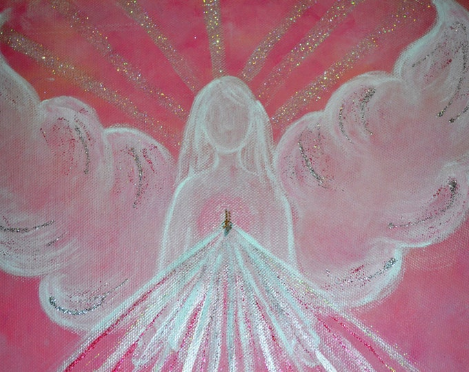 Angel of Love PINK - LIMITED EDITION- Original art, zibu symbol, handmade, sparkle finish, Reiki Charged, healing.