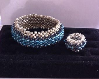 Aqua Silver Bangle & Ring