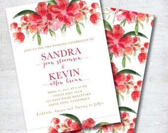 Floral Wedding Invitation, Red Wedding Invitation, Red Wedding Invitations, Watercolor Wedding Invitation, Red Wedding Invite, Red Wedding