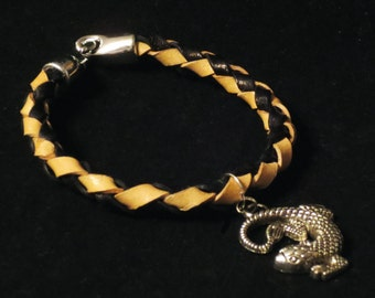 Natural and Chocolate Bolo Leather Summer Bracelet with Lizard Charm Gift for Her Gift for Him Braided