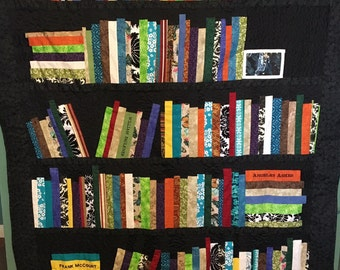 Bookshelf Quilt, Book Quilt, Quilt of Books, Author Quilt, Title Quilt