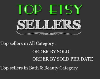 Top Etsy sellers Top selling shops Most popular shop Best sellers  Top sellers in Bath & Beauty Category Top Sellers all Category, TOP 1000