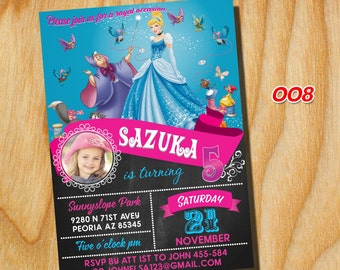 Princess birthday party, princess birthday invites, Disney Princess Invitation, Disney Princess Invitation Party, FREE card THANK YOU|008