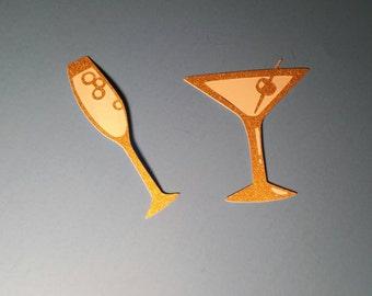 new years die cuts, new years scrapbooking, wedding die cuts, wedding scrapbook embelishment, champagne die cut, martini die cut