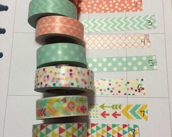 fun aqua and coral mixed washi tape