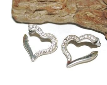 Heart Hoop Earrings, Silver and Rhinestone Earrings, Sparkly Jewelry, Sparky Earrings, Bling Earrings, Costume Jewelry, Silver Hoops