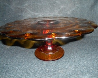 Amber Cake Plate / Cake Stand in Classic Glass by Indiana Glass in the Beautiful Teardrop Pattern