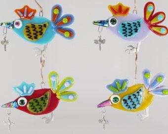 Fused Glass Bird Ornament on Aluminum