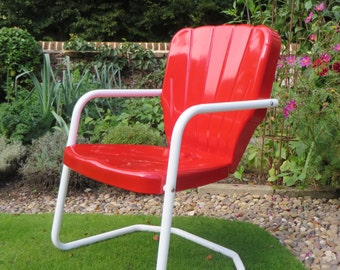 Thunderbird Red Metal Lawn Chair