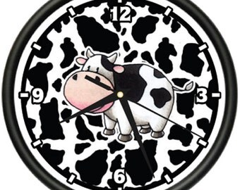 Cow Wall Clock Print Collector Kitchen Home Hide Gift