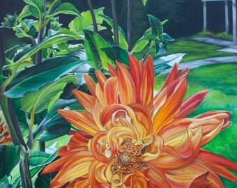 Backyard Dahlia's - Giclee Print from Original Painting