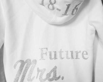 Personalized, Custom, Future Mrs, Bride to be, Bride, Wedding date, Glitter, Sparkle, Sweatshirt, Fleece, Bridal gear, Zip-Up Hoodie