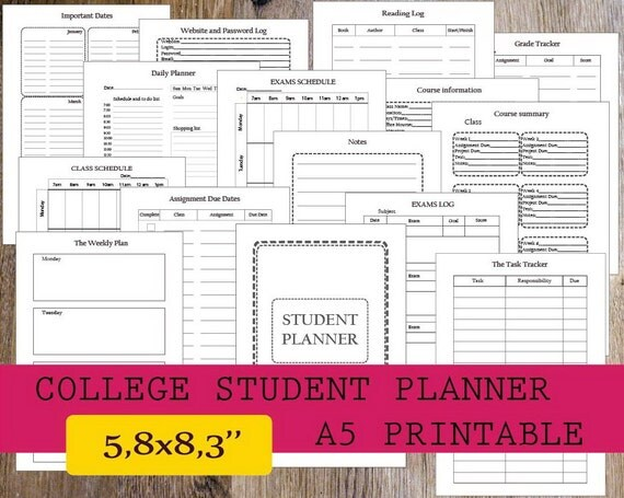 college student planner template
