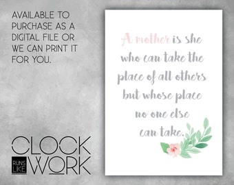 Wall Art, Prints, Home Decor, Nursery Prints, Printed or Digital File Available, A mother is