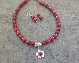 Red Bead Necklace and Earrings