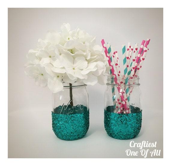 Https Www Etsy Com Listing 261269216 Set Of Two Teal Glitter Mason Jars Home