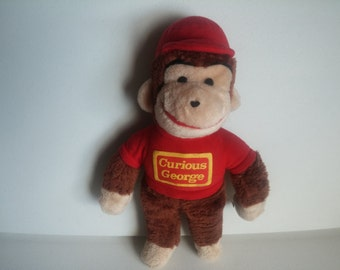 Knickerbocker Vintage Curious George Plush,  Red Shirt Stuffed Animal Monkey, Vintage Curious George