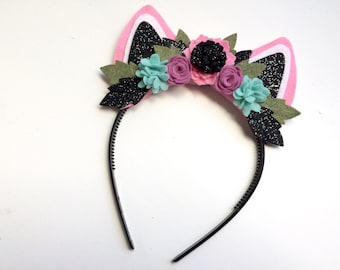 Felt Cat Kitten Ear headband - pink ears with pink, icy blue, lavender flowers with glitter black and green leaves