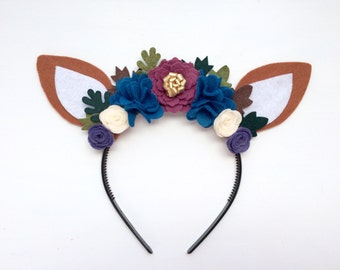 Felt Deer Fawn Ears Headband - mauve, blue, ivory and sage purple with gold and green leaves - autumn