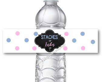 Staches or Lashes Gender Reveal Water Bottle Labels - Gender Reveal Decorations - Gender Reveal Ideas - Gender Reveal Party -  Instant DIY