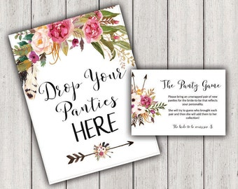 BRIDAL SHOWER GAME, Drop Your Panties Here, Printable Bridal Shower Games, Lingerie Shower Game, Bachelorette party, B100