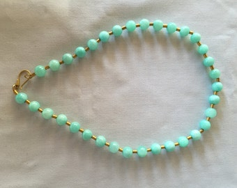 Blue Peruvian Opal Necklace with Gold Vermeil Beads