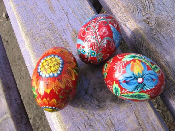 Handmade gift set of 3 wooden easter eggs hand painted - Painted wooden easter eggs ...