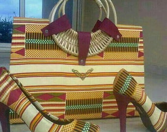 African Printed Heel and Bag