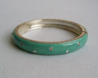 Vintage Silver Tone Enamel Scattered Rhinestone Clamper Bangle Bracelet
