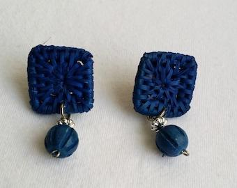 Vintage Silver Tone Post Blue Rattan Bead Dangle Earrings. Vintage Handcrafted Ratthan Earrings