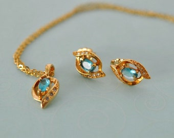 Vintage Avon SP Aqua Blue Earrings and Necklace, Gold Tone, Avon Earrings, Avon Necklace, Blue Necklace, Aqua Earrings, Aqua Necklace, GS848