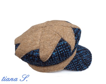 Patchwork CAP, petrol-Brown, boucle wool