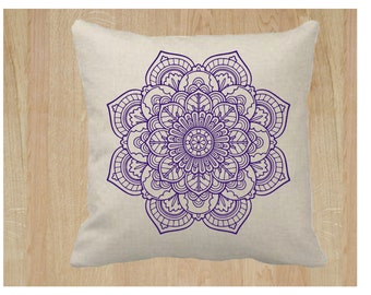 18x18 Mandala Flower Pillow Cover Natural