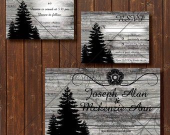 "Wedding Invitation/RSVP/Reception Card ""Woods of Winter"""