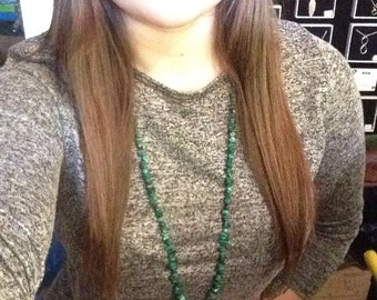 Green malachite necklace made with semi precious stones