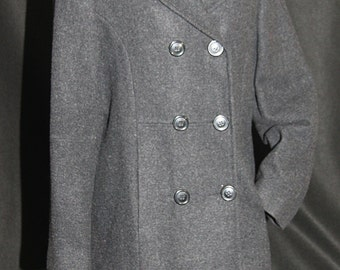Made in Russian 100% Wool Double Breasted Coat Charcoal Gray