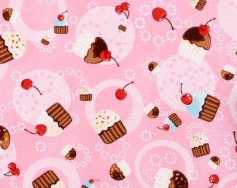 Cupcake with cherry fabric, sweet treat fabric, pink fabric, food fabric, novelty fabric, cake fabric