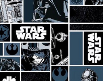 Star Wars black and blue fabric, movie fabric, Darth Vader fabric, novelty fabric