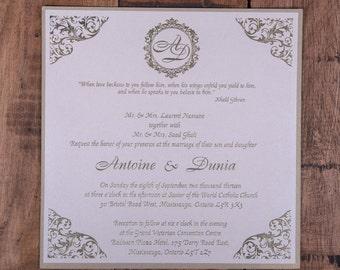 Damask Corner Wedding Invitation, Damask Corner Wedding Invitations, Corner Design Wedding Invitations, Raised Gold Ink Wedding Invitations