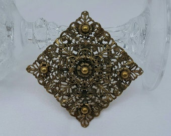 Ornate Brass Brooch