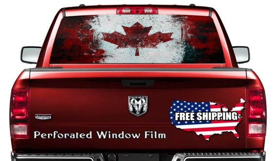 Cool Canadian Flag Canada Decal Full Color Print Perforated - Rear window decals for trucks canada