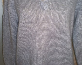 wool - silk  hand-knitted sweater size 38/40