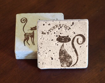 Cat Coasters, Animal Coasters (Set of 4)